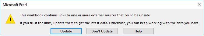 Broken references dialog box in Excel