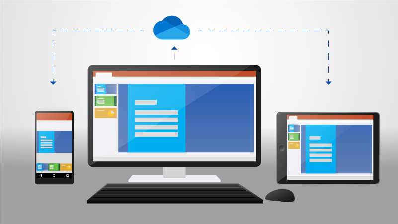 A phone, desktop computer, and tablet showing a document stored in OneDrive