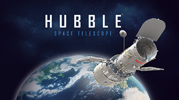A 3D PowerPoint template about the Hubble space telescope.