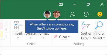 People icons, When others are co-authoring, they'll show up here