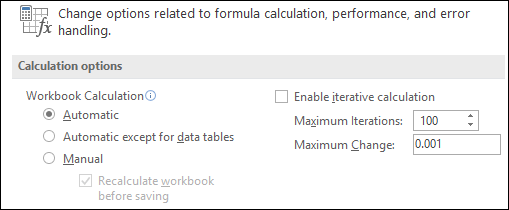 Image of Automatic & Manual Calculation options