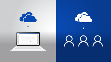 On the left, a laptop with a document and an arrow up to the OneDrive logo, on the right, the OneDrive logo with an arrow down to three people symbols