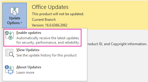 Click Enable Updates