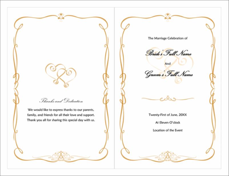 Thumbnail image of wedding program, heart-and-scroll design