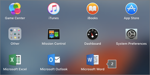 Shows the Microsoft Word icon in a partial view of the Launchpad