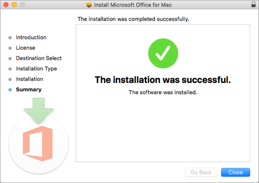 Shows the final page of the installation process, indicating that the installation was successful.